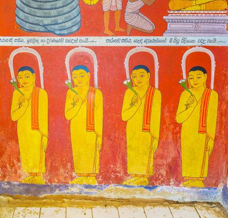 UDUNUWARA, SRI LANKA - NOVEMBER 29, 2016: The wall painting in Sanctum of Garagha in Embekka Dewalaya Temple depicts the bhikkhu monks with flowers, on November 29 in Udunuwara.