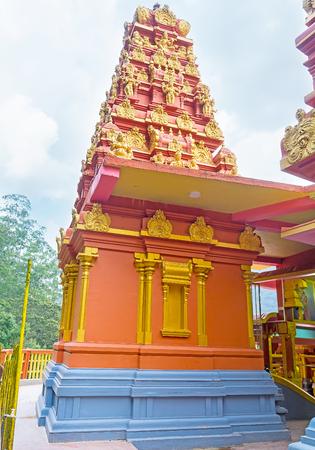 The bright colors and interesting architecture of restored Seetha Amman Temple, Nuwara Eliya, Sri Lanka. Stock Photo