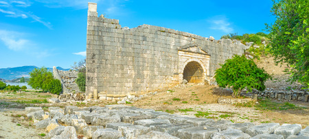 sidewall: The view on well preserved sidewall of Latoon theater , Turkey Stock Photo