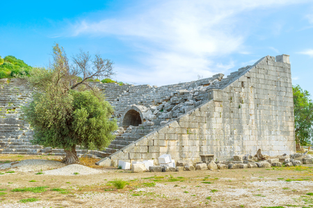 sidewall: The view on preserved part of ancient theater in Letoon ,Turkey
