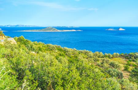 The view on small islands of Turkish Riviera on Mediterranean Sea, Turkey Stock Photo