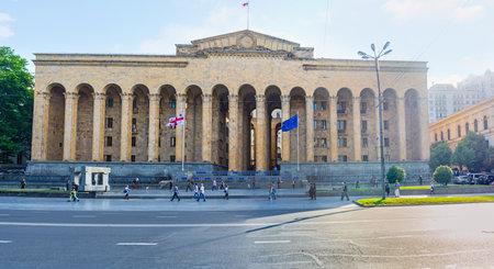 TBILISI, GEORGIA - JUNE 2, 2016: The facade of monumental old Parliament building, located in Shota Rustaveli Avenue, on June 2 in Tbilisi. Editorial