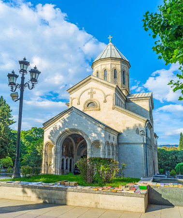 The old Kasveti Church of St George is the pearl of Rustaveli Avenue, located at the entrance to Ninth April Park and surrounded by the flea book market, Tbilisi, Georgia.