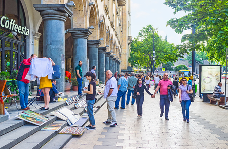 TBILISI, GEORGIA - JUNE 2, 2016: Rustaveli Avenue is one of the central city streets, always crowded and noisy, on June 2 in Tbilisi. Editorial