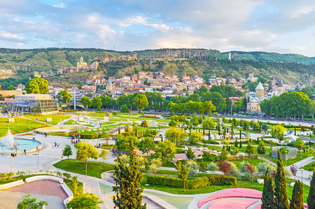 The Avlabari neighborhood boasts the picturesque Rike park, perfect place for family rest, enjoying landscaping, dancing fountains and the view on the old town on Sololaki hill, Tbilisi, Georgia.