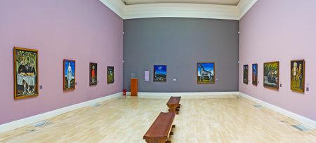TBILISI, GEORGIA - JUNE 2, 2016: The paintings of Georgian primitivist painter Niko Pirosmani in Museum of Fine Arts in Rustaveli Avenue, on June 2 in Tbilisi.