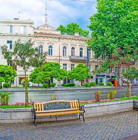 The rainy Rustaveli Avenue with lonely bench, surrounded by flower beds and blooming trees, with the historic edifices on background, Tbilisi, Georgia.