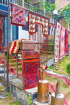 The vintage carpets and rugs are perfect commercial of the antique store, Tbilisi, Georgia.