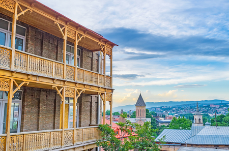 The view from the Sololaki hill, occupied with historic neighborhoods of old town with preserved traditional edifices, Tbilisi, Georgia.