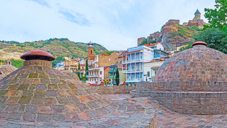 Abanotubani is famous historic baths neighborhood, located at the foot of Sololaki hill and neighboring with Narikala fortress, Juma Mosque, Botanical garden and restored residential quarters, Tbilisi, Georgia.