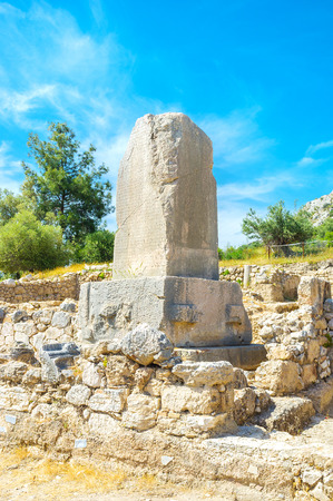 bilingual: The Xanthos obelisk with inscriptions is one of the most important preserved monuments of ancient civilization Stock Photo