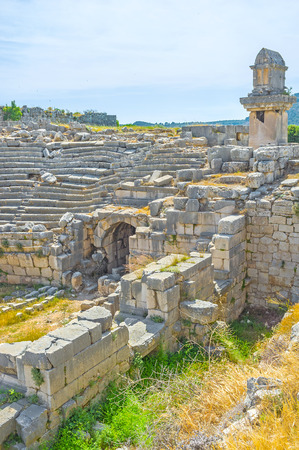 Arched corridors on both sides of the stage were used as entrance to the theater, Xanthos, Turkey
