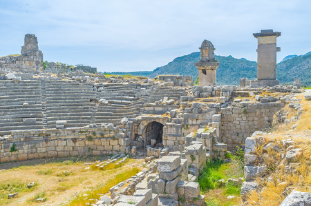 Theater with tombs on pillars are the main landmarks of ancient Xanthos, Turkey