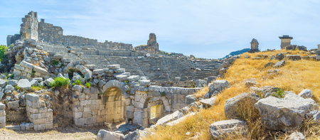 sidewall: Two arched entrances to the theater on its sidewall, Xanthos, Turkey