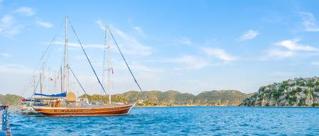 Kekova boasts natural bay that protect moored boats against sea waves, Turkey