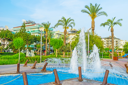 Alanya is the popular modern resort with perfectly landscaped gardens, comfortable hotels, cozy cafes and beautiful beaches, Turkey. Stock Photo