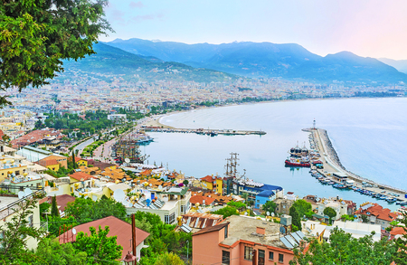 The old town of Alanya occupies the slope of Castle Hill between the old msrina and fortress, located on the hilltop, Turkey.