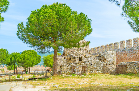 The pleasant walk along the ruins of the ancient Castle with the shell of Byzantine church behind the lush pine, Alanya, Turkey. Stock Photo