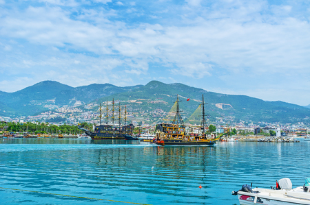 ALANYA, TURKEY - MAY 9, 2017: The medieval wooden warship prepares for the tourist trips along the coast, on May 9 in Alanya.