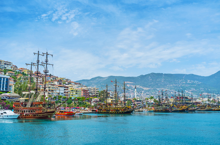 The best way to relax in resort is to take a pleasant trip along the coast on the wooden warship, Alanya, Turkey. Stock Photo