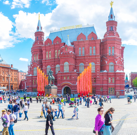 MOSCOW, RUSSIA - MAY 11, 2015: The view on beautiful edifice of State Historical Museum on Manezhnaya Square, on May 11 in Moscow