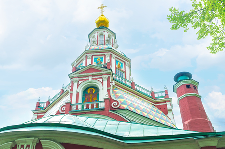 The high colorful dome of church of St. John the Warrior in Yakimanka district of Moscow, Russia