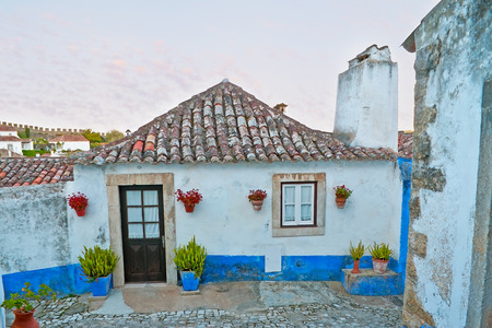 tall chimney: The old cozy house with tall chimney, old tile roof, many plants in pots and bright blue stripe, protecting in against the evil spirits, Obidos, Portugal.