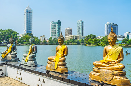pieris: Seema Malaka Temple on Beira lake is famous for its numerous golden statues of Lord Buddha, surrounding the main shrine, Colombo, Sri Lanka.
