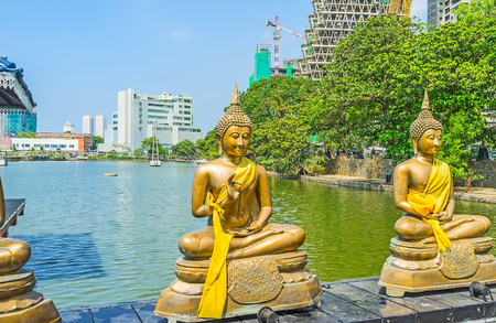 Seema Malaka Temple of Gangaramaya Buddhist Complex is on of the most picturesque city landmarks, Colombo, Sri Lanka.