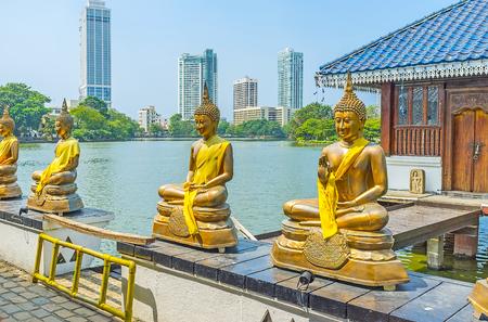 pieris: Seema Malaka Temple of Gangaramaya Buddhist Complex is the pearl of Colombo, important religious center and popular tourist location, Sri Lanka.