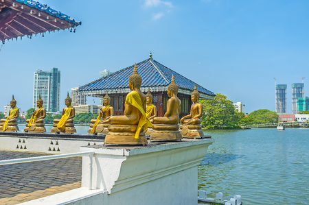 Seema Malaka is the notable Buddhist site, the part of Gangaramaya Complex, located on scenic Beira lake, Colombo, Sri Lanka. Stock Photo