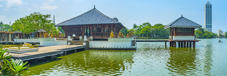 Panorama of Seema Malaka Temple with Image Houses on platforms in Beira lake, Colombo, Sri Lanka.