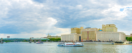 MOSCOW, RUSSIA - MAY 11, 2015: The beautiful view on Moskva River with building of Ministry of Defense on the background, on May 11 in Moscow, Russia