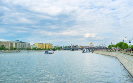 pushkin: MOSCOW, RUSSIA - MAY 11, 2015: Boat trips are very popular in moscow, they allow to see main landmarks on the embankments of the river, on May 11 in Moscow, Russia Editorial