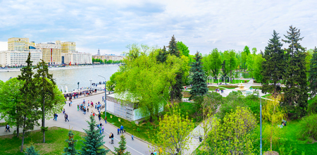 MOSCOW, RUSSIA - MAY 11, 2015: The Gorky Park is one of the most popular place for leisure walks, boat sailings or just drinking coffee in numerous cafes, on May 11 in Moscow, Russia Editorial