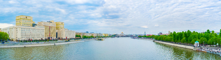 ministry: MOSCOW, RUSSIA - MAY 11, 2015: The panoramic view on Moskva river with Ministry of Defense and embankment of Gorky Park, on May 11 in Moscow, Russia Editorial