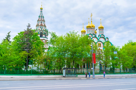 The view on beautiful colorful cupolas and bell tower of Church of St. Nicholas in Khamovniki, Moscow, Russia