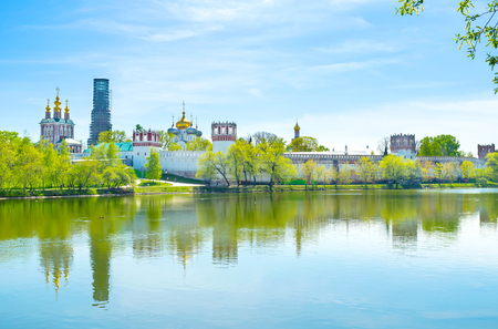 The view on Novodevichy Convent from the Novodevichy Ponds Park in Moscow, Russia