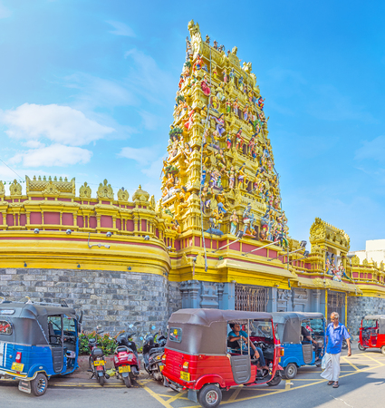 dome of hindu temple: COLOMBO, SRI LANKA - DECEMBER 7, 2016: Restored Gopuram tower of Sri Muthu Vinayakar Swamy Kovil in Sea street, historic destination of Pettah district, on December 7 in Colombo. Editorial