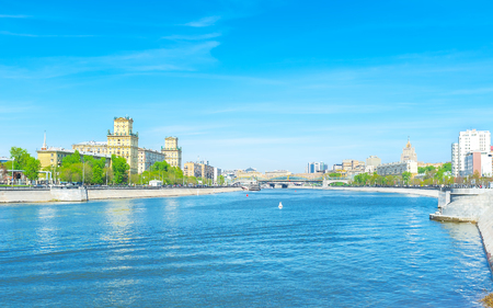 The trip along the river is the best way to relax in city, Moscow, Russia Stock Photo