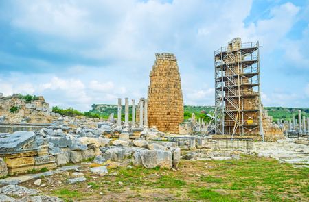 Visit the popular archaeological site in Antalya suburb, Perge is the notable landmark, preserving ruins of Anatolian city, Turkey.