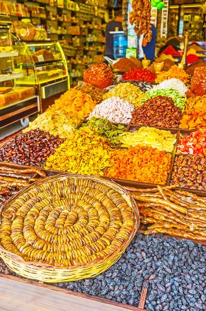The Turkish bazaar offers tasty dried figs, raisins, churchkhela and rahat lokum (Turkish delight), Side, Turkey.
