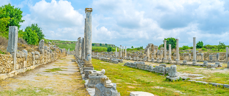 colonnaded: Colonnaded street is famous and scenic landmark of Perge, Antalya, Turkey. Stock Photo