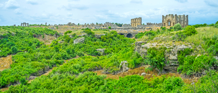 Panorama of the ruins of agora in ancent Pamphylian city of Aspendos, Turkey.