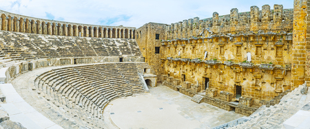 Aspendos archaeological site is important part of the tourist routes, its amphitheater is nice place to discover ancient Greco-Roman architecture, Turkey.