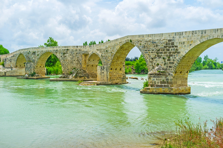 The Eurymedon bridge is the notable landmark of ancient Pamphylia, reconstructed by Seljuqs in the Middle Ages, Aspendos, Turkey.
