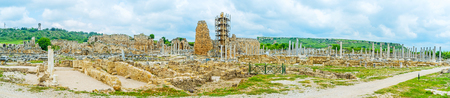 Panorama of Perge archaeological site, Antalya region is rich in ancient lndmarks, here were located many Anatolian and Greco-Roman cities, Turkey. Stock Photo