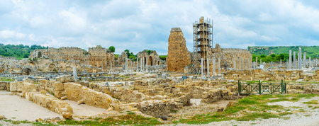 Panorama of Perge archaeological site Stock Photo