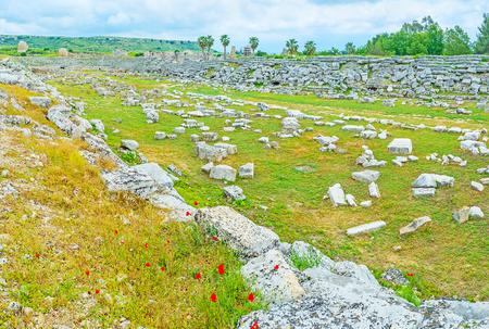 Stadium of Perge is one of the notable landmarks of the ancient Anatolian city, Antalya, Turkey,
