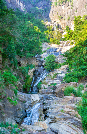 The view on Ravana Falls, popular tourist destination next to Ella, Sri Lanka